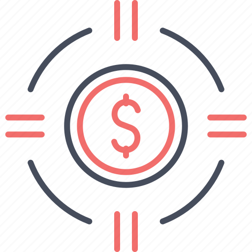Money, coin, dollar, finance, target icon