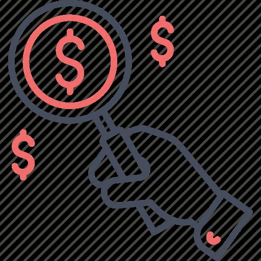 coin, dollar, finance, find, money, search icon