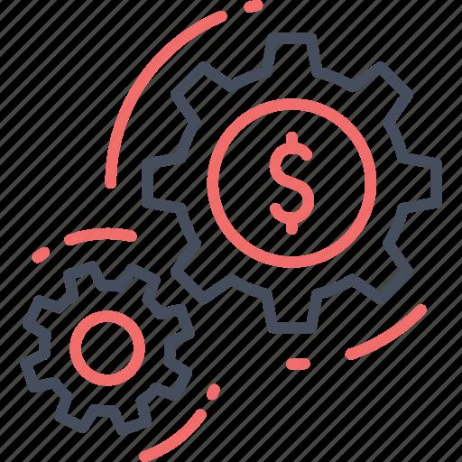 dollar, finance, gear, money, setting icon