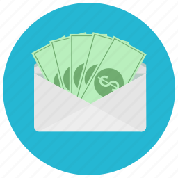 bills, cash, currency, dollar, envelope, finance, receive icon