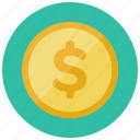 america, coin, currency, dollar, finance, sign icon
