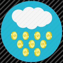 cloud, coin, dollar, finance, money, rain icon