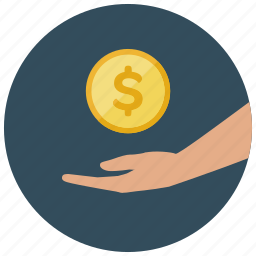 cash, coin, dollar, finance, hand, pay, receive icon
