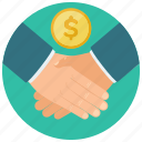 agreement, coin, dollar, finance, hands, shake icon