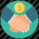 agreement, coin, dollar, finance, hands, shake