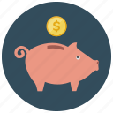bank, coin, dollar, finance, piggy, save, savings icon