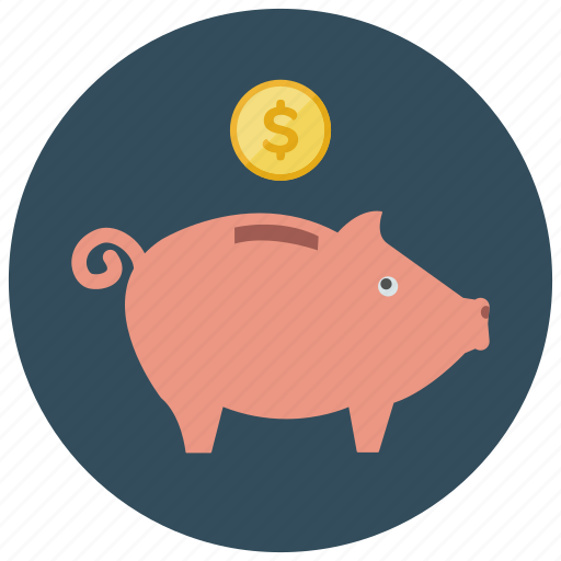 bank, coin, dollar, finance, guardar, piggy, save, savings icon