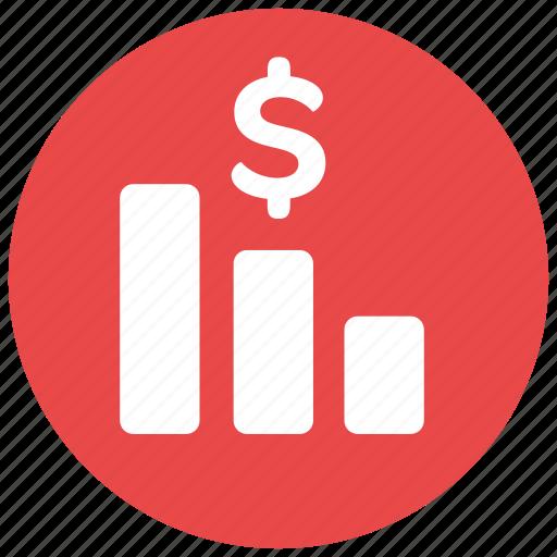 bars, dollar, fall, finance, profit, sign icon