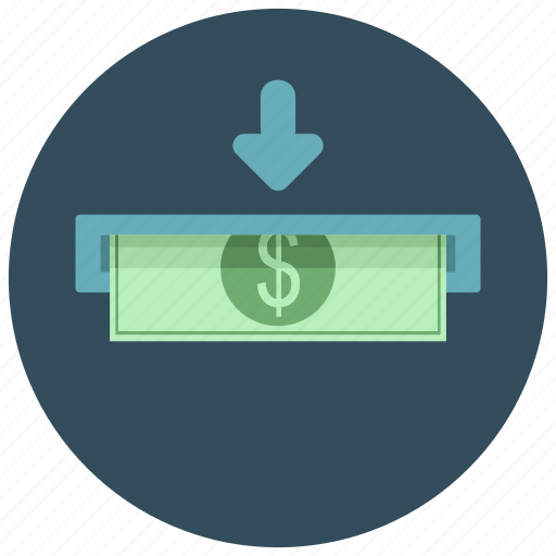 atm, bill, cash, dollar, extract, finance, money icon