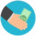 bill, cash, dollar, finance, hand, payment icon