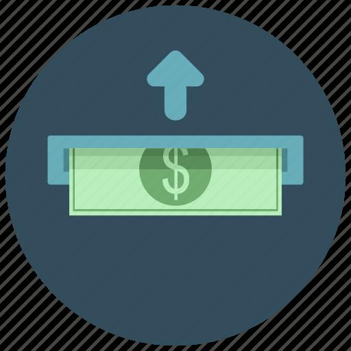 atm, bank, bill, dollar, finance, insert, money icon