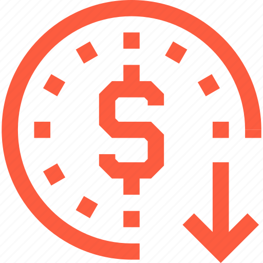 coin, currency, depreciation, dollar, download, finance, save icon