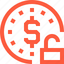 coin, crypto, currency, dollar, finance, money, unlock icon