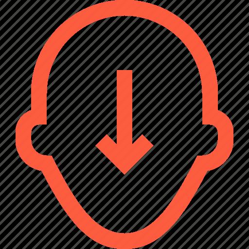 arrow, contact, down, person, profile, sort, user icon