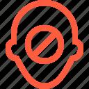 ban, blacklist, block, cancel, contact, ignore, person, profile, user icon