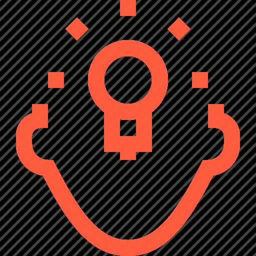 bulb, eureka, idea, light, person, profile, user icon