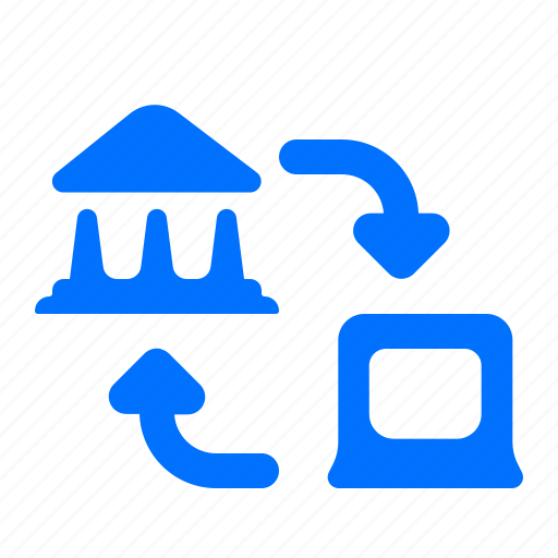 bank, laptop, transfer icon