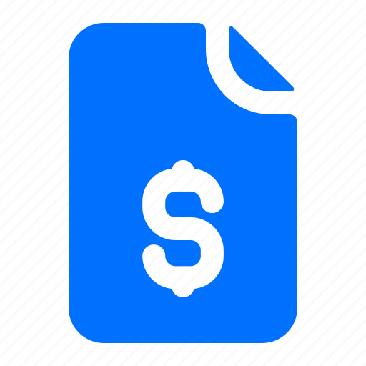 Currency, document, dollar, file icon