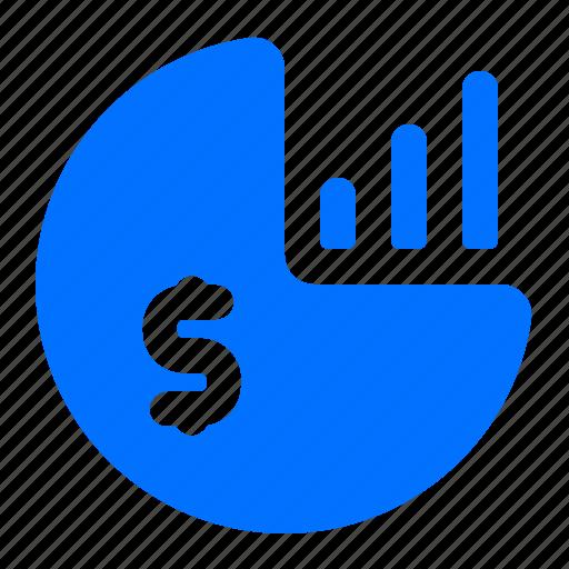 chart, dollar, graph, pie icon