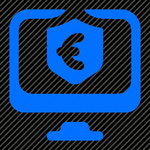 computer, euro, monitor, security icon