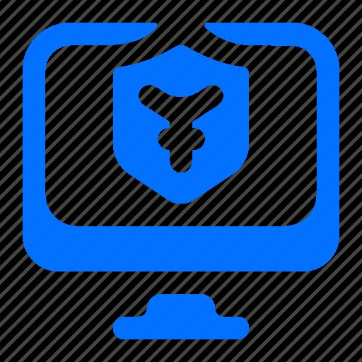 computer, monitor, security, yen icon