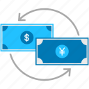 business, cash, dollar, exchange, money, payment, yen icon