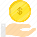bank, business, coin, dollar, hand, money icon