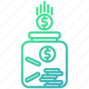 finance, fund, investment, jar, savings icon