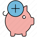 add, bank, finance, new, payment, piggy, piggybank icon