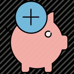 add, bank, finance, new, payment, piggy, piggybank icon