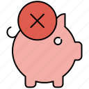 bank, cancel, delete, finance, payment, piggy, piggybank icon