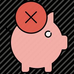 bank, cancel, delete, finance, payment, piggy, piggybank icon