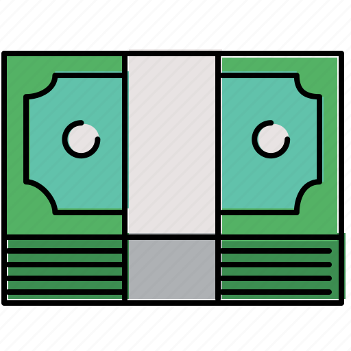 bill, cash, finance, payment, stack icon