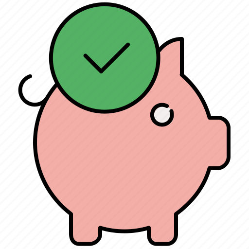 approve, bank, complete, confirm, finance, piggybank, savings icon