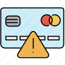 alert, card, credit, finance, payment, warning icon