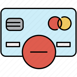 card, credit, delete, finance, payment, remove, savings icon