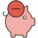 bank, delete, finance, piggy, piggybank, remove, savings icon