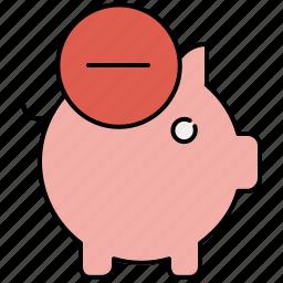 bank, delete, finance, piggy, piggybank, remove, savings icon