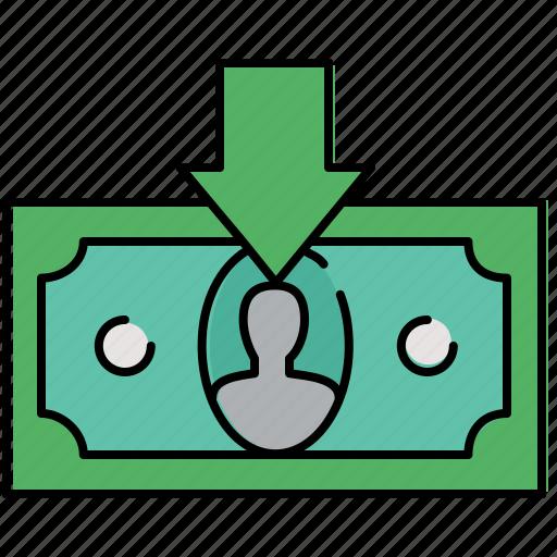 arrow, cash, down, finance, income, receive icon