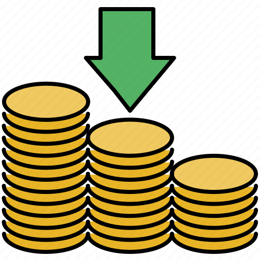 arrow, coin, down, finance, income, receive, stack icon