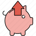 arrow, extract, finance, piggybank, remove, up icon