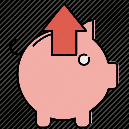 arrow, extract, finance, piggybank, remove, up icon