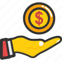 cash, funds, investment, money hand, savings icon