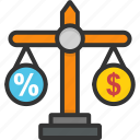 budget equality, business scale, calculation, disbalance, earning balance icon