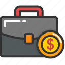 banking concept, briefcase, cash, money case, official psd icon