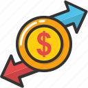 currency exchange, currency interlocking, investment concept, money exchange, money gears icon