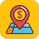 bank location, dollar, gps, location, map pin icon