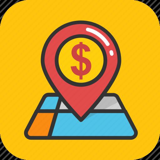 bank location, dollar, gps, location, map pin icon