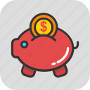 banknote, cash, money, piggy bank, savings icon
