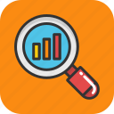 analysis, analytics, finance graph, graph magnifying, statistics icon